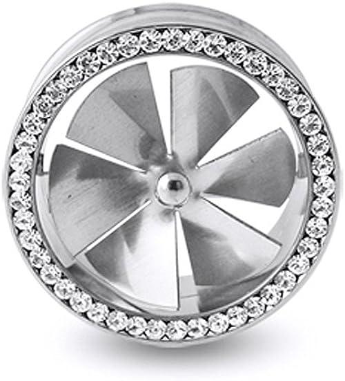 1X Fashion Stainless Steel Spinning Fan Flesh Ear Tunnel Plug Ear Expander Screw