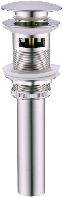 BESTILL Push Pop-up Basin Drain Stopper with Overflow for Bathroom Basin Vessel, Brushed Nickel