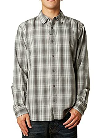 Fox Racing Mens Foundation Woven Button Up Long-Sleeve Shirt Graphite Large