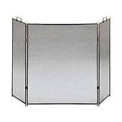 "Three-Fold Black 30"" High Flat Fireplace Screen from Universal Lighting and Decor"