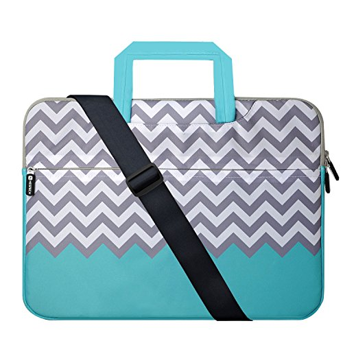 Laptop Case 17.3 inch, HESTECH Laptop Shoulder Bag for Women 17 inch, Computer Cases Compatible for Laptop 16-17.3 HP Lenovo Dell ASUS (Chevron) ()