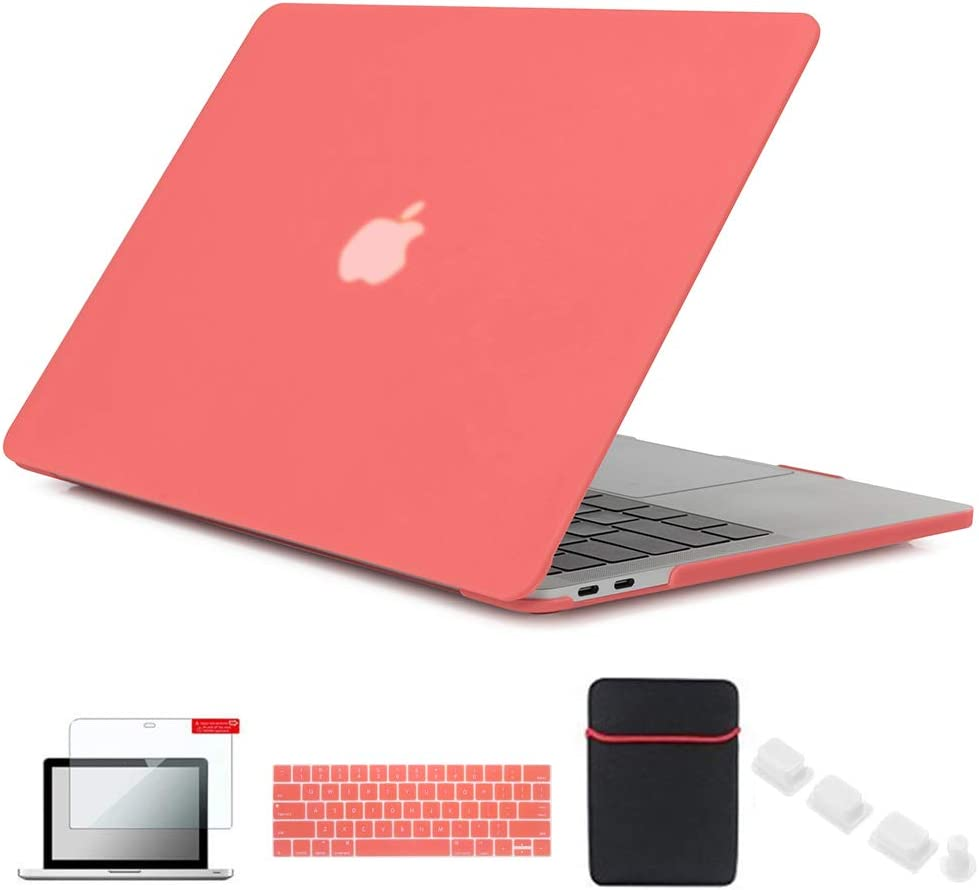 Se7enline Macbook Pro 15 Case with Touch Bar Matte Plastic Hard Cover for MacBook Pro 15 inch model A1707/A1990 2016/2017/2018 with Sleeve, Keyboard Cover Skin, Screen Protector,Dust plug,Living Coral