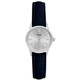 Cluse Womens La Vedette 24mm Blue Leather Band Metal Case Quartz Silver-Tone Dial Analog