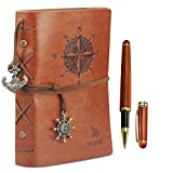"Leather Writing Journal Notebook with Rosewood Ballpoint Pen Set Boxed, 7"" x 5"" Embossed Refillable Vintage Nautical Spiral Blank String Daily Notepad & 0.7mm Rosewood Rollerball Pen (1 Extra Refill)"