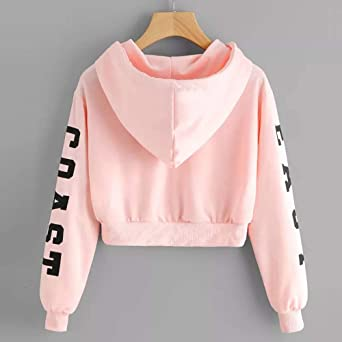 Women Teens Active Hoodie Long Sleeve Letter Print Sweatshirt Pullover Crop Top at Amazon Womens Clothing store: