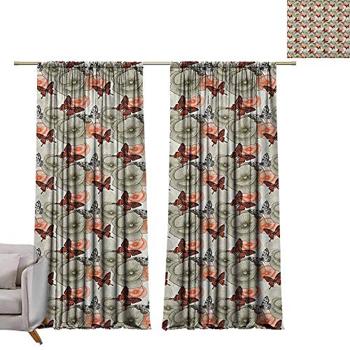 berrly Shades Window Treatment Valances Curtains Butterfly,Poppy Blossoms and Butterflies Wildlife Garden Forest Theme Vintage Style, Black Orange Khaki W96 x L108 Thermal Insulated Blackout Curtains