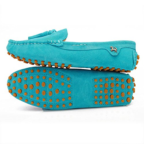 Minitoo Girsl Ladies Slip-on Suede Leather Lace Up Tassels Casual Driving Shoes Loafers Flats Turquoise jogk6fn60O