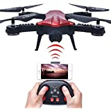 AHAHOO RC Drone Foldable Wifi FPV VR RC Quafcopter with 2MP HD Camera 2.4Ghz 6-Axis Gyro 4CH Remote Control Helicopter Drone (Red)