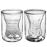 Dual Walled Sexy Men Borosilicate Tumbler Glass Gift Set of 2 Male 6oz 180ml by Dopecha