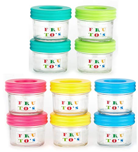 Glass Baby Food Storage Containers – Set Contains 10 Small Reusable 4oz Jars with Airtight Lids – Safely Freeze Your Homemade Baby Food