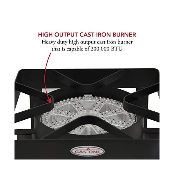 GasOne 200, 000 BTU Square Heavy- Duty Single Burner Outdoor Stove Propane Gas Cooker with Adjustable 0-20Psi Regulator… 3