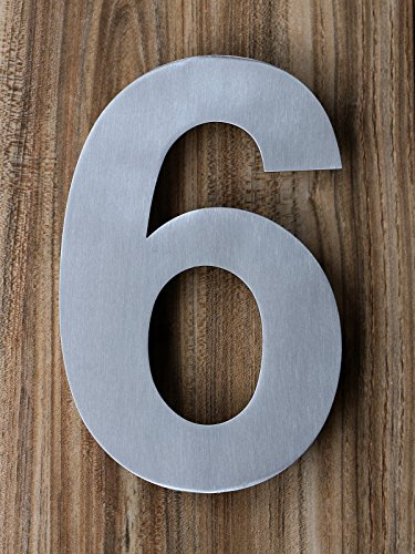 Qt Modern House Number Small 4 Inch Brushed Stainless