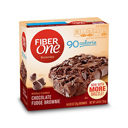 Fiber One 90 Calorie Brownie, Chocolate Fudge, 6 Count (Pack of 8)