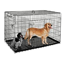 "Pet Trex Premium Quality 48"" Folding Pet Crate Kennel Wire Cage for Dogs Cats or Rabbits"
