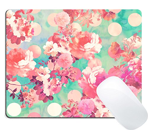 Wknoon Gaming Mouse Pad Custom Design Mat, Vintage Romantic Pink Floral Retro Polka Dots Girly Flowers Design (Retro Flowers Pink)