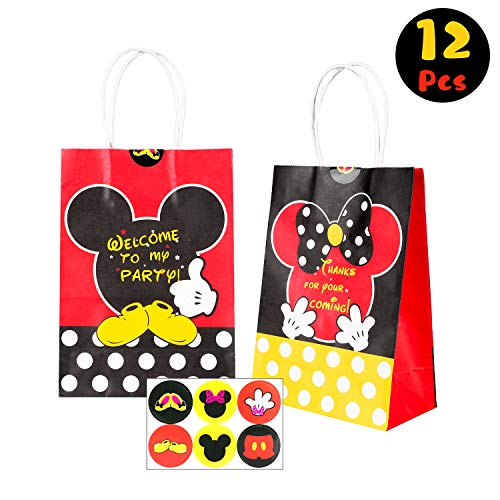 (BEYUMI Goodie Candy Treat Bag Mickey Minnie Inspired Party Favor Supplies, 12 PCS Handle Mickey Gift Party Paper Bags with Stickers for Kids Birthday Baby Shower &)