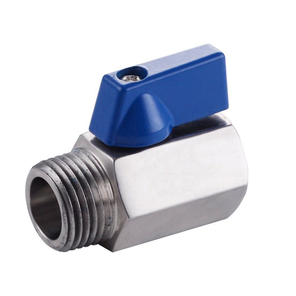 MATEE SUS304 Stainless Steel G1/2-Inch Inlet by G1/2-Inch Outlet Quarter Turn Straight-Through Valve for Shower Head & Hose Polished Finish