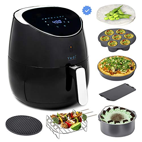 Yedi CERAMIC Total Package Air Fryer XL, Ceramic Coated Cooking Basket and Ceramic Coated Deluxe Accessory Kit, 100 Recipes, 2 Year Warranty, 5.8 - Ceramic Xl