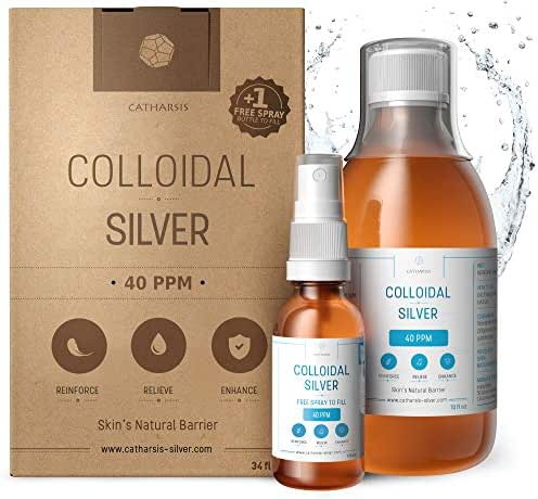 Premium 100% Natural Colloidal Silver 10oz 40 PPM ✅Spray to Fill ✅Superior Concentration, Smaller Particles = Best Results ✅Certified by 3 Laboratories ✅We Proudly Manufacture our Product ✅Catharsis