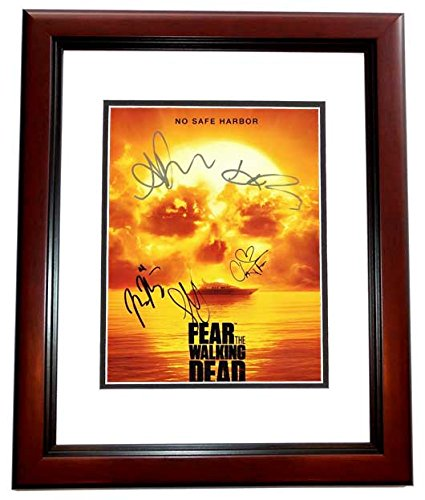 Fear The Walking Dead Full Cast Autographed 11x14 Photo - Signed by Kim Dickens, Cliff Curtis, Mercedes Masohn, Alycia Debnam Carey, and Lorenzo James Henrie - MAHOGANY CUSTOM Frame - Guaranteed to pass PSA or JSA - -
