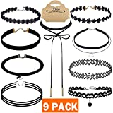 Outee 9 PCS Women Choker Necklaces Black Velvet Stretch Tattoo Choker Necklace Set for Girls