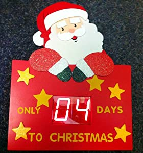 wooden digital countdown days to santa christmas decoration electronic timer. Black Bedroom Furniture Sets. Home Design Ideas