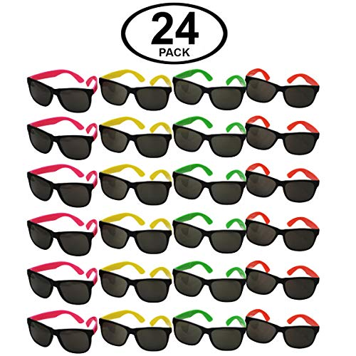 Funny Party Hats Sunglasses in Bulk - Neon Party Sunglasses - Party Favors - Neon Party Supplies (24 Pack) ()