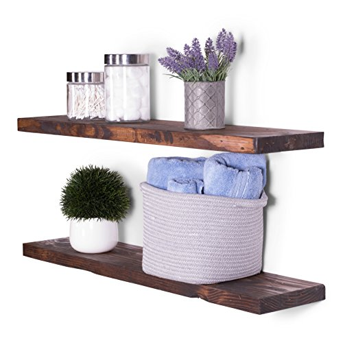 DAKODA LOVE 8″ Deep Rugged Distressed Floating Shelves, USA Handmade, Clear Coat Finish, 100% Countersunk Hidden Floating Shelf Brackets, Beautiful Grain Rustic Pine Wood (Set of 2) (36″, Bourbon) Review