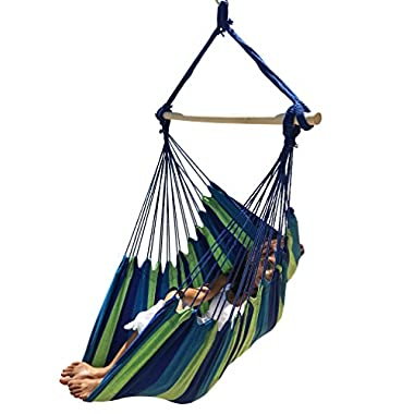Large Brazilian Hammock Chair by Hammock Sky - Quality Cotton Weave for Superior Comfort & Durability - Extra Long Bed - Hanging Chair for Yard, Bedroom, Porch, Indoor / Outdoor (Blue & Green Stripes)