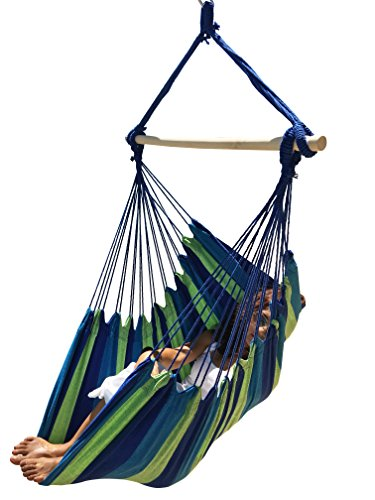 Hammock Sky Large Brazilian Hammock Chair by Quality Cotton Weave for Superior Comfort & Durability - Extra Long Bed - Hanging Chair for Yard, Bedroom, Porch, Indoor/Outdoor (Blue & Green) (Hanging Mayan Hammock)