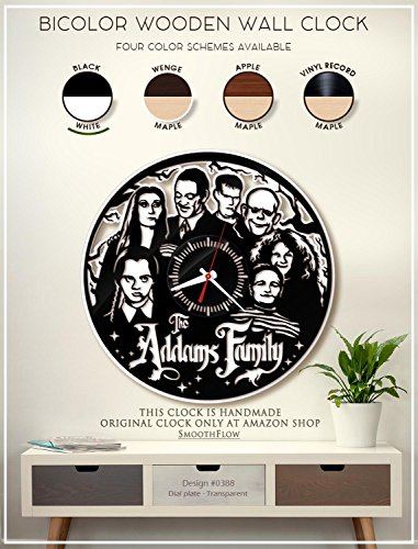 The Addams Family Wooden Clock. Gomez and Morticia Addams Modern Bicolor Clock. Handmade Wall Clock. Halloween D?cor B388(Black-White) -