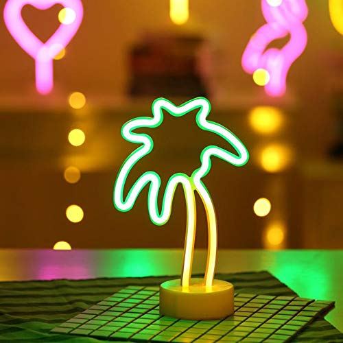 Battife Neon Signs LED Light with Holder Base USB or Battery Operated Table Night Lamp for Bedroom,Home Party Decorations Gifts - Palm Tree,Yellow and Green (Lamps Palm)