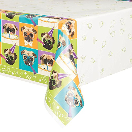 Pug Puppy Birthday Plastic Tablecloth, 84