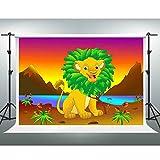 GESEN 7X5ft Cartoon Backdrop Brave Lion King under Sunset Backdrop Children Photography Background Video Studio Props SEN679