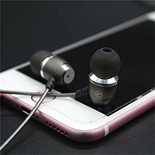 Earbuds with Microphones Headphones,in-Ear Metal Earbuds,Bass Stereo Ear Buds Wired Earphones,Noise Isolating Headset for Apple iPhone,iPad, Samsung, PC (Grey-Silver)