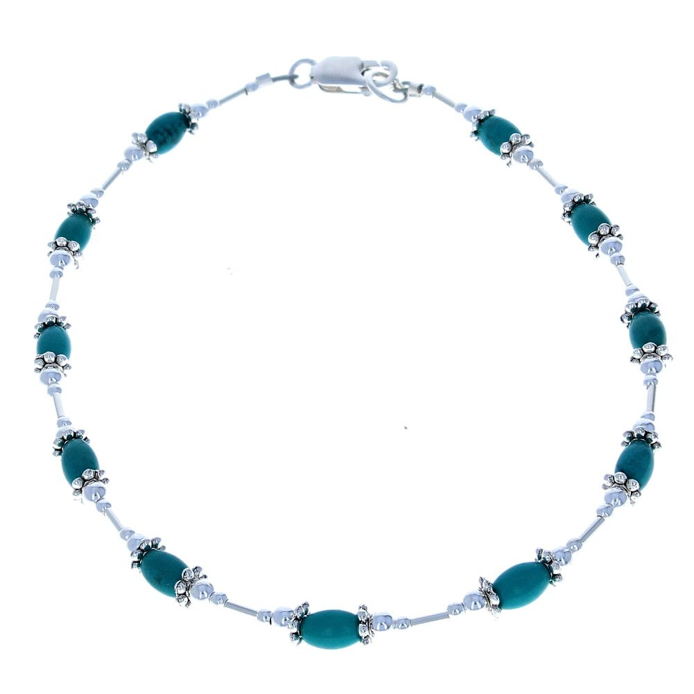 Timeless-Treasures Womens Turquoise & Sterling Silver Ladies Beaded Gemstone Anklet with Daisies - 9''