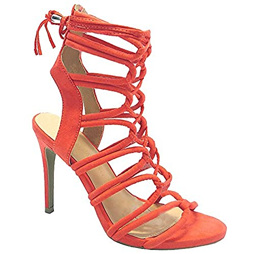 38b20fa1c581e well-wreapped Wild Diva Women's Savvy 09 Gladiator Strappy Lace Up Tie High  Heel