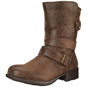 Rampage Women's islet Motorcycle Buckle Mid Calf Low Heel Boot, Brown, 7.5 M US
