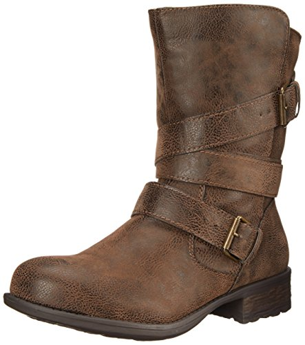 Rampage Women's Islet Motorcycle Buckle Mid Calf Low Heel Boot, Brown, 8...