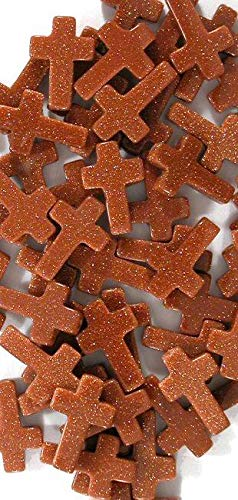 Goldstone 10x15mm Cross Beads, (Package of 14 Beads)