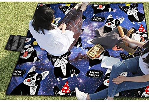 Coperta da Picnic Bulldog Cartoon Funny Galaxy Beach Mat Tote Pad Handy Mat 145X150CM