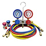 BACOENG 5FT AC Diagnostic Manifold Freon Gauge Set for R22 R134a R12 R410A Refrigerants with Couplers, 3-60'' Hoses and Standard 1/4'' Fittings