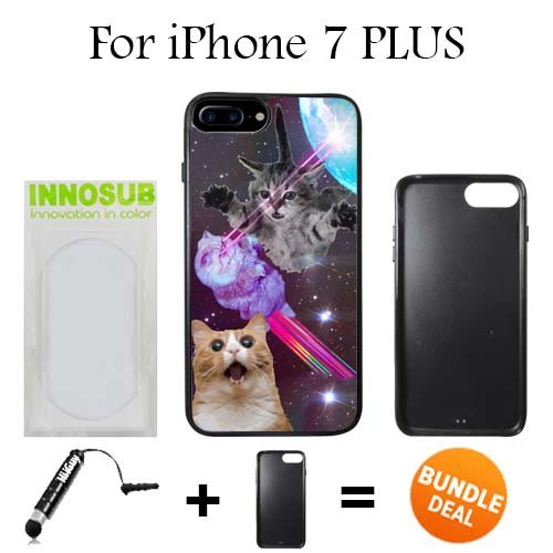 Innosub Custom iPhone 7 PLUS Case (Hipster Flying Space Cats Laser ) Edge-to-Edge Rubber Black Cover with Shock and Scratch Protection | Lightweight, Ultra-Slim | Includes Stylus Pen