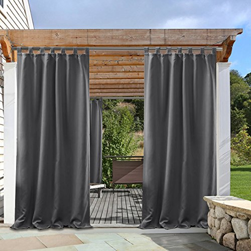 Grey Outdoor Curtains Light Block - PONY DANCE Waterproof Fabric Tab Top Solid Outdoor Blackout Curtain Drapes for Gazebo Porch, 52