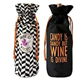 DII Cotton Halloween Reusable Drawstring Gift Bag, 6''(W) x 14''(H) x 4''(Dia), Set of 2 for Wine, Beverages, Gifts, Holiday Party Accessory-All Hallows Eve