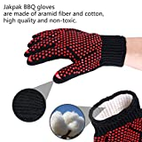 Jakpak BBQ Gloves 1 Pair Barbecue Grill Gloves, 932F Extreme Heat Resistant Oven Mitt Non-Slip Silicone Potholders Gloves for Outdoor BBQ Grilling or Kitchen Cooking l Cotton Lining kitchenware