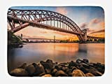 Ambesonne Landscape Bath Mat, Sunset Evening View Picture Hell Gate and Triboro Bridge Astoria Queens America, Plush Bathroom Decor Mat with Non Slip Backing, 29.5 W X 17.5 W Inches, Brown Blue