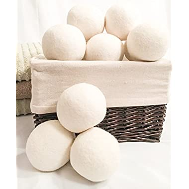 Wool Dryer Balls Pack of 6 - Natural Fabric Softener, Reusable, Reduce Wrinkles, Saves Drying Time. Anti Static Large Felted Wool Clothes Dryer Balls is a better alternative to plastic balls.