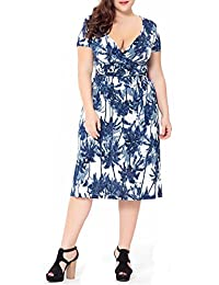 Women's Plus Size Printed Deep V-Neck Sexy Short Sleeve Madi Dress with Belt