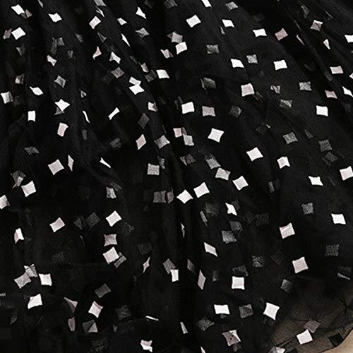 Maxi Línea Patchwork Vestido Cocktail Malla De Stand Cuello Evening Mujer Black Manga Una Larga xFxB8Iq